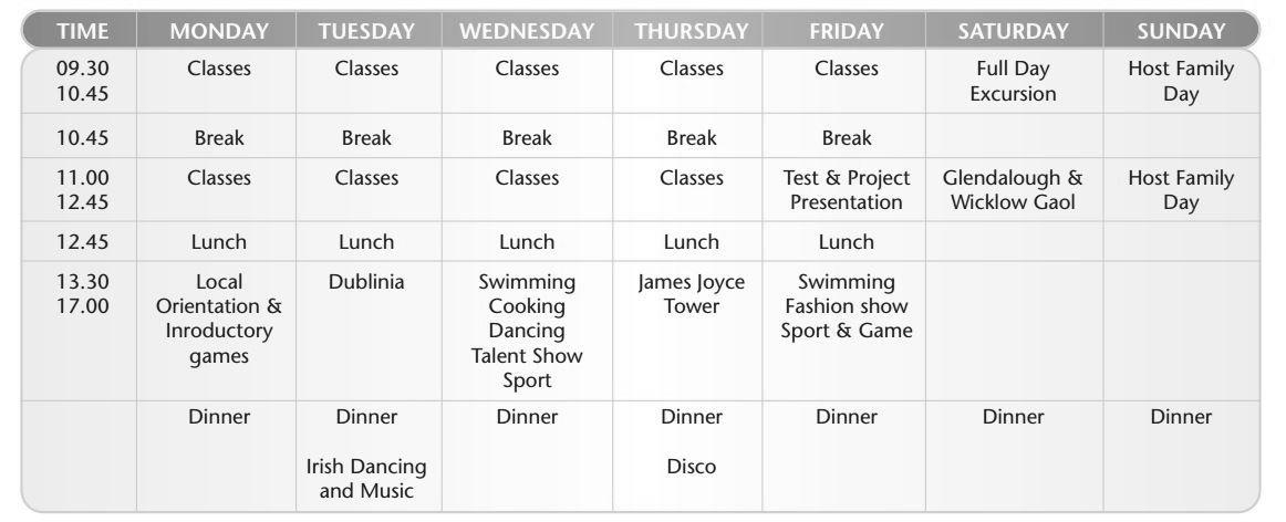 ejemplo horario actividades