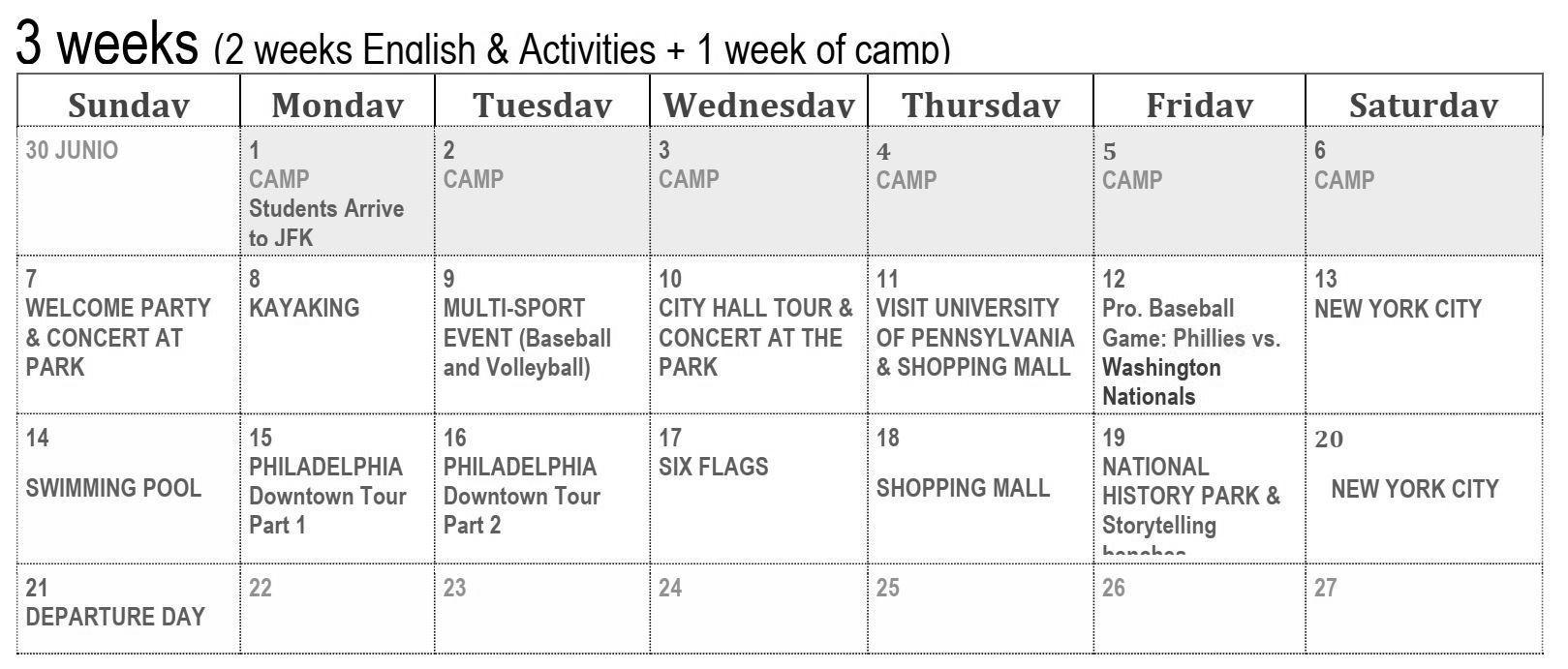 programa semanal philadelphia